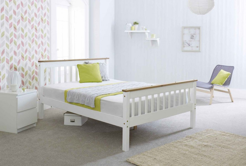 Lottie Solid White Wood High Foot Bed in with Storage Options