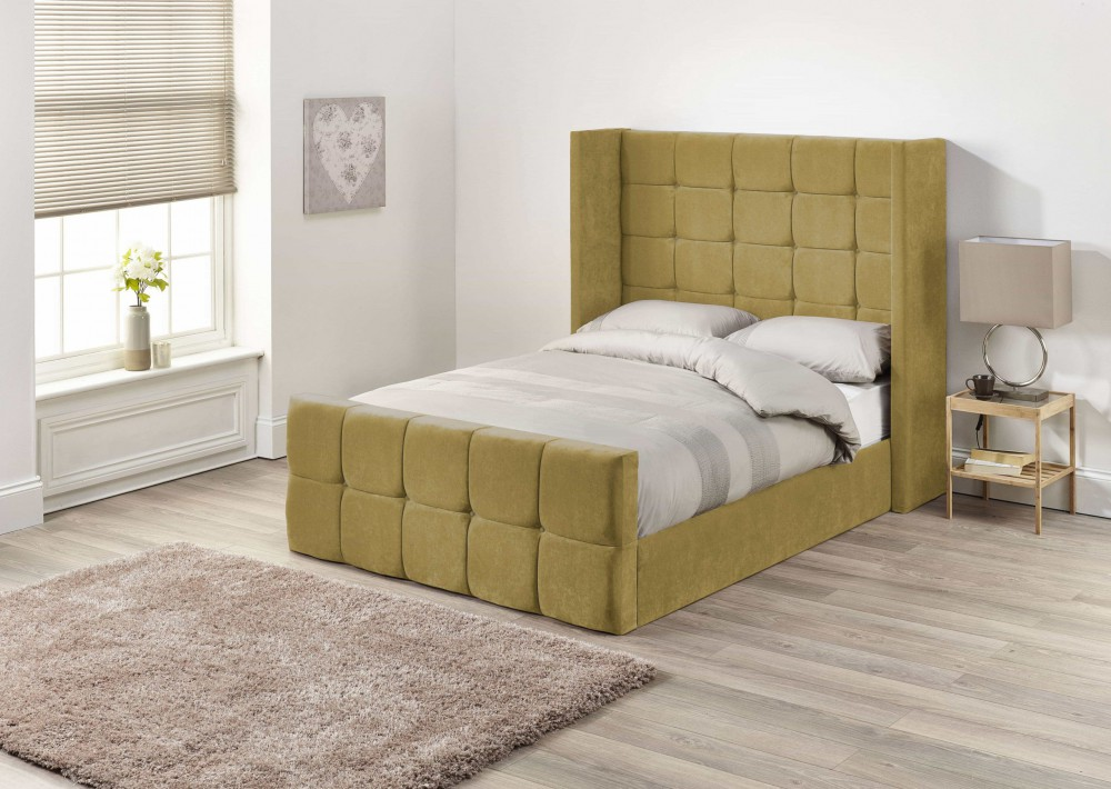 Crown Upholstered Wing Bed Frame