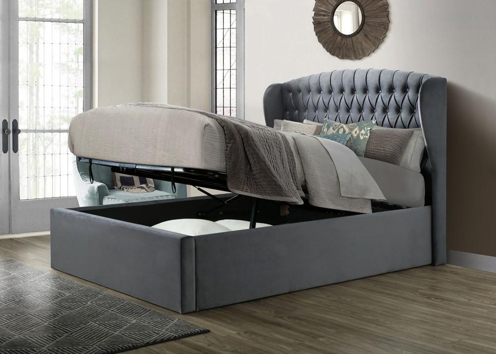 Warren Velvet Ottoman Storage Bed Frame