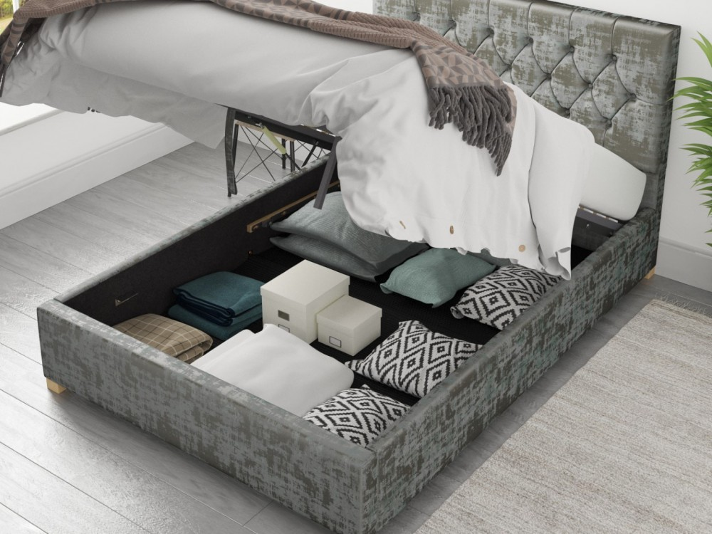 Alexandra Ottoman Bed In Distressed Velvet