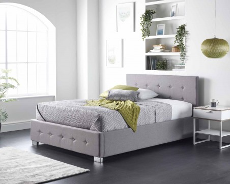 Side Opening Storage Bed Side Opening Storage Ottoman Bed Available in Grey Linen, Steel Plush Velvet or Silver Crushed Velvet Fabric Finishes