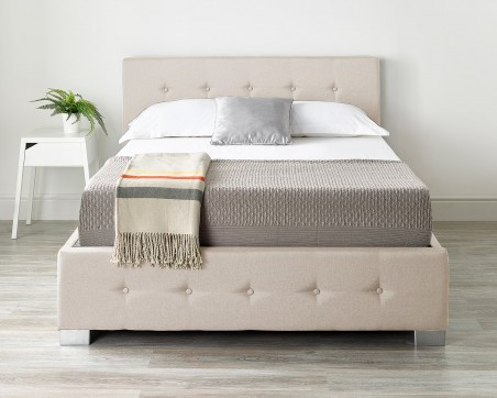 Ottoman Beds Storage Ottoman Bed Available in Grey, Black or Natural Linen Fabrics