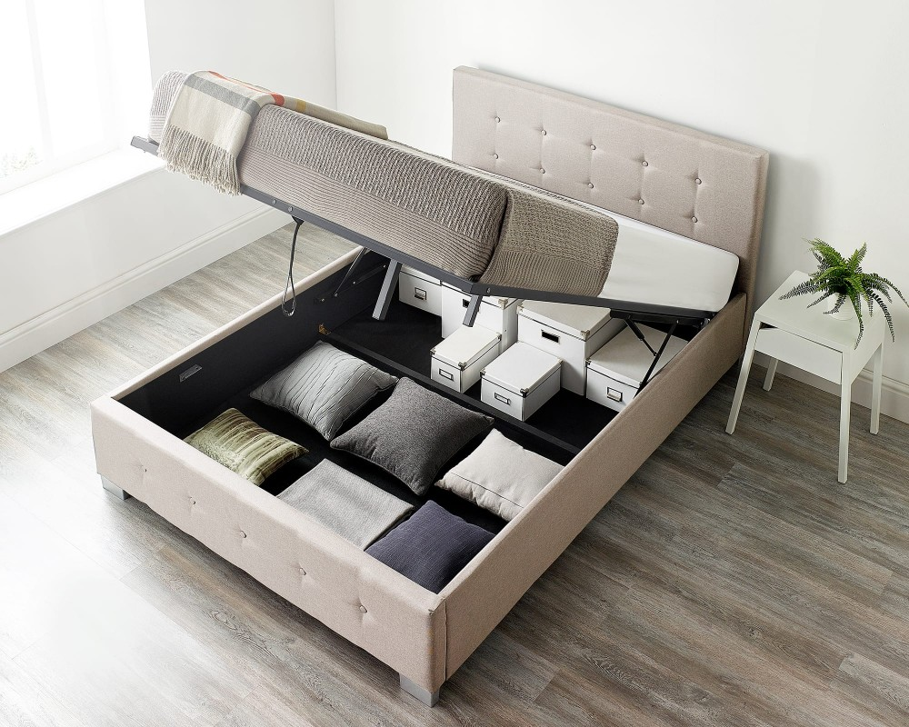 Storage Ottoman Bed Available in Grey, Black or Natural Linen Fabrics