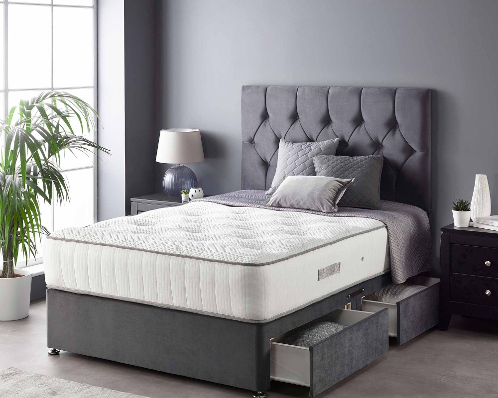Catherine Lansfield Boutique Divan Base and Headboard with Free Natural Cashmere Mattress