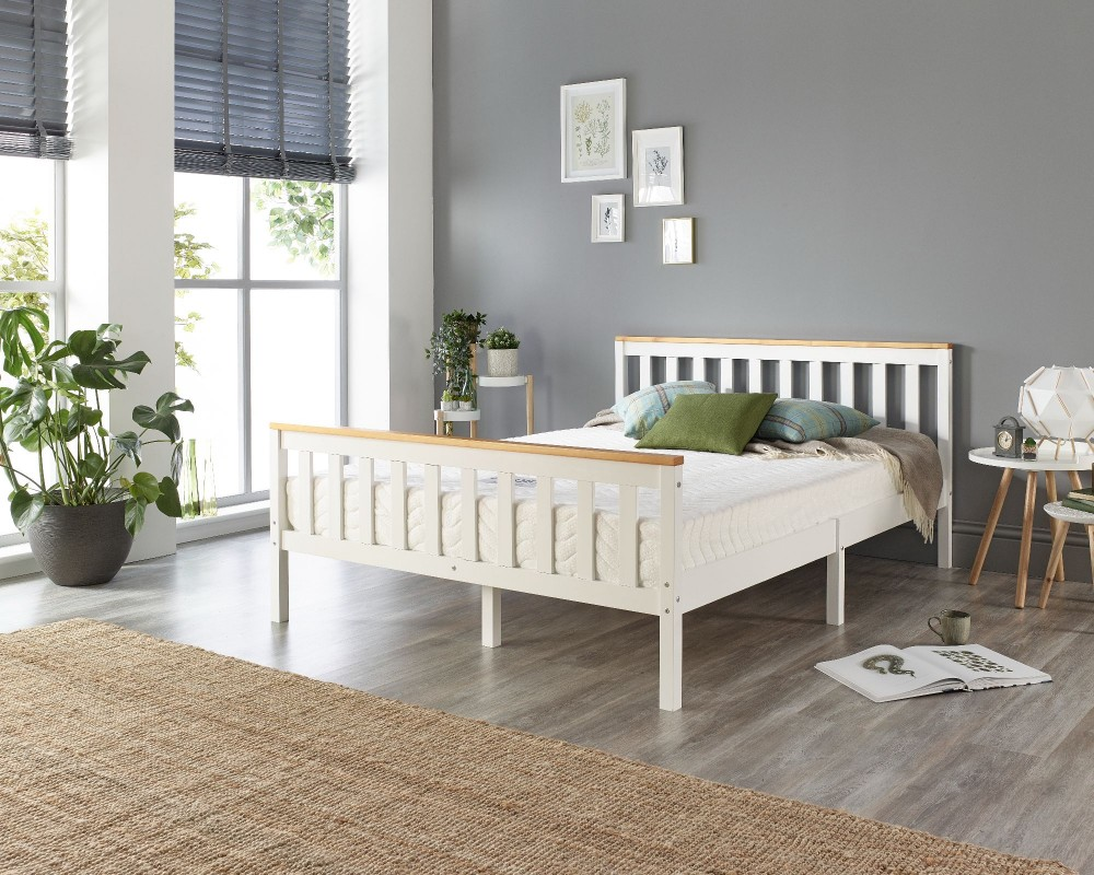 Pacific Solid Wood White Bed Frame -...