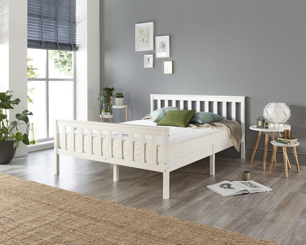 Solid Wood White Bed Frame - Single...