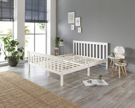 Wood Bed Frame Solid Wood White Bed Frame - Single to Super King Sizes