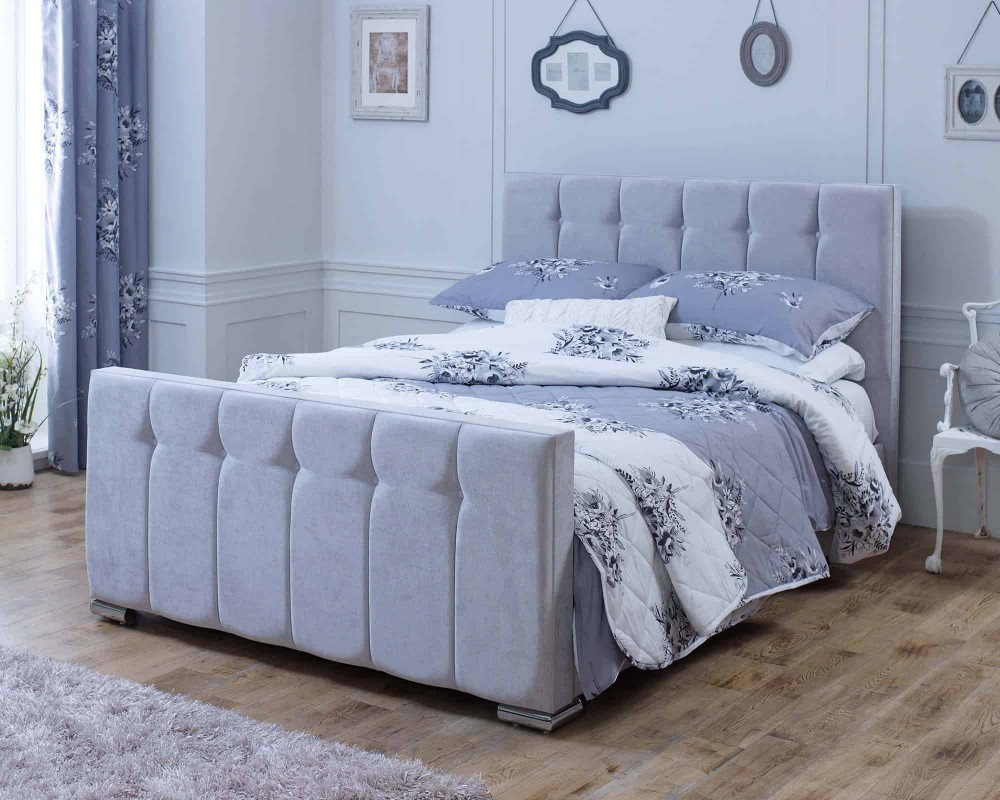 Catherine Lansfield Canterbury Silver Sleigh Bed