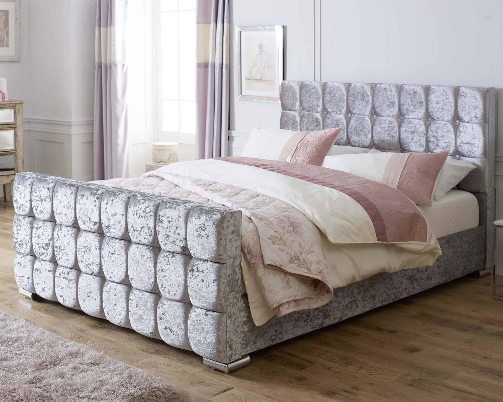 Catherine Lansfield Gatsby Silver Sleigh Bed